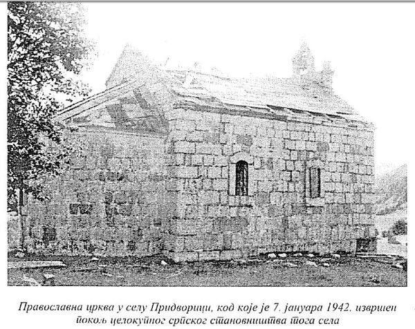 Крвави Божић, Придворица код Гацка 1942. године