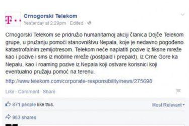 """Како црногорски """"Телеком"""" помаже жртвама: Не наплаћује позиве ка Непалу"""
