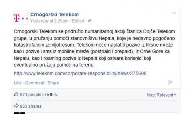 """Како црногорски ''Телеком"""" помаже жртвама: Не наплаћује позиве ка Непалу"""