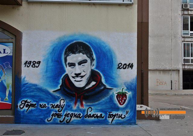 """Нови графит """"Делија"""" у Требињу: У част и сјећање на Марка Ивковића"""