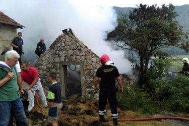 Од удара грома изгорјела штала на Зупцима