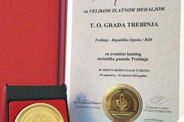 НОВОСАДСКИ САЈАМ: Златна медаља Туристичкој организацији Требиња