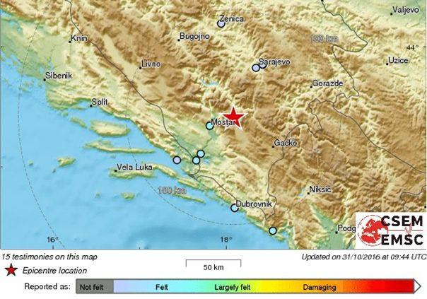 ТРЕСЛА СЕ ХЕРЦЕГОВИНА: Забиљежен земљотрес 18 километара од Невесиња