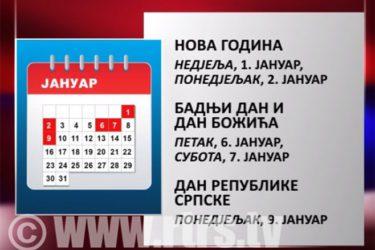 РЕПУБЛИКА СРПСКА: Нерадни дани 6, 7. и 9. јануар