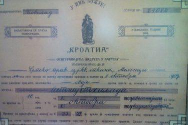 U ZAGREBU SE PRIJE STO GODINA PISALO ĆIRILICOM: Hrvatska polisa osiguranja iz 1909. godine