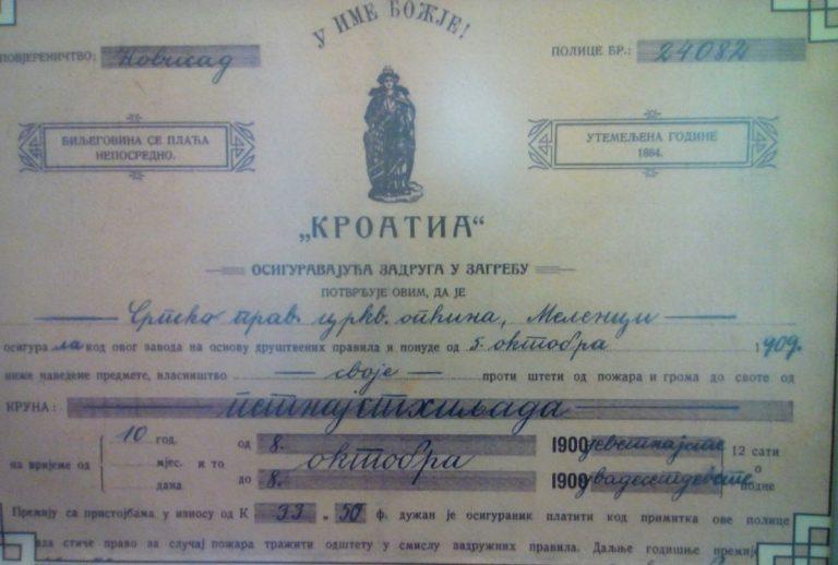 У ЗАГРЕБУ СЕ ПРИЈЕ СТО ГОДИНА ПИСАЛО ЋИРИЛИЦОМ: Хрватска полиса осигурања из 1909. године
