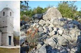 Молитва на темељима срушеног храма Светог пророка Јеремије у Зачули код Требиња