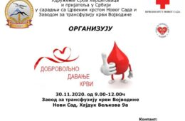 НОВИ САД, 30. НОВЕМБАР 2020. ГОДИНЕ: Херцеговци организују 11. акцију добровољног давања крви